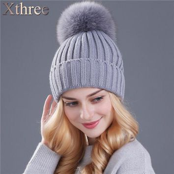 LMF9GW Xthree real fox fur pom poms ball Keep warm winter hat for women girl 's wool hat knitted beanies cap thick female cap