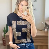 FENDI Summer Newest Trending Women Double F Letter Print Round Collar Top T-Shirt Black