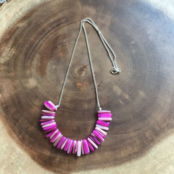 Hot Pink Necklace, Stick Shell Necklace, Ocean Necklace, Beaded Necklace, Beach Necklace, Bib Necklace, 22 Inch Necklace