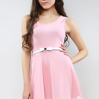 Ribbon Belted Lacy Hem Dress