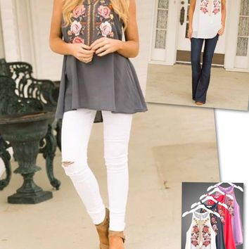 Embroidered Floral Design and Tie Tassel Closure Sleeveless Tunic