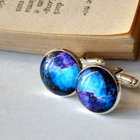 Galaxy Cuff Links Silver Plated Space Cufflinks Men Accessories