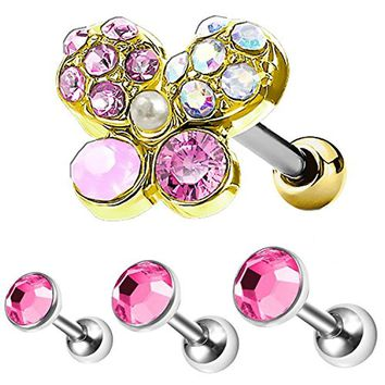 BodyJ4You 4PC Tragus Piercing Butterfly Stud Earring Ball 16G Gold Surgical Steel Helix Ear Barbell