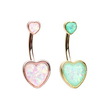 Gold & Rose Gold Two Opal Hearts Belly Button Ring