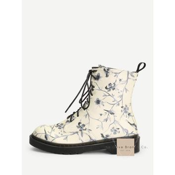 Floral Doc Marten Inspired Boots