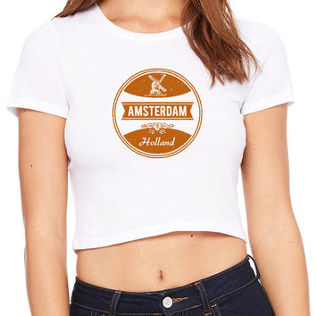 Holland Denmark vintage soft Windmill Crop T-shirt