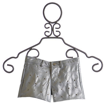 Flowers By Zoe Tween Silver Pleather Shorts with Studs