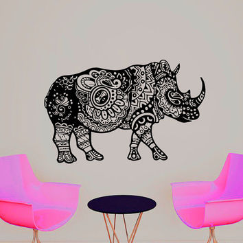 Wall Decals Rhinoceros Indian Pattern Yoga Decal Vinyl Sticker Home Bedroom Studio Window Decor Dorm Hall Interior Design Art Murals MN453