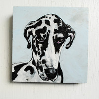 Custom Pet Portrait.  Dog Painting.  Small Art.  Oil Painting on Wood Panel.
