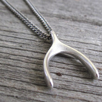 Men's Necklace - Men's Wishbone Necklace - Men's Silver Necklace - Mens Jewelry - Necklaces For Men - Jewelry For Men - Gift for Him
