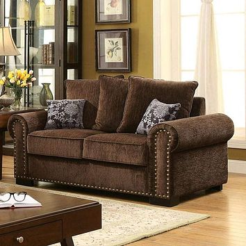 Chenille Upholstery trim Loveseat , Brown By Casagear Home