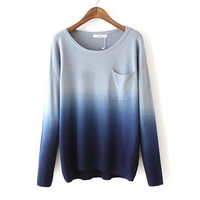 Gradient Mosaic Pocket Asymmetry Sweater