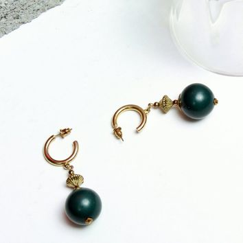 Green Ball Drop Earrings