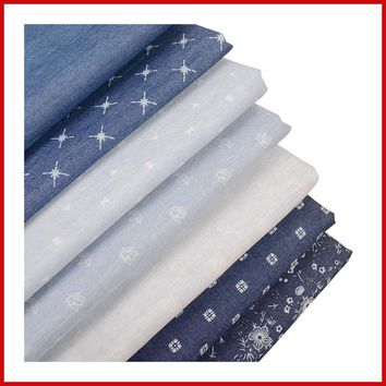 HOT! 50*150cm cotton denim fabric by half meter printing cotton blue jeans fabric for DIY sewing fashion apparel making material