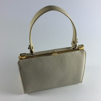 Vintage Ivory Ecru Off White Textured Faux Leather Purse Retro Handbag With Gold Accents