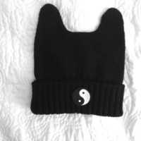 Ying Yang Kitty Cat Ear Beanie