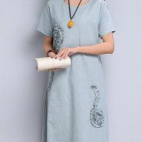 Women's Casual Short Sleeve Floral Decoration Pullover A-Line Dress