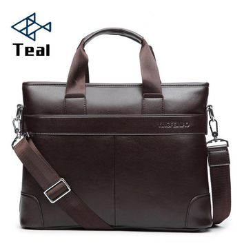 Men's Business Black Casual Bag pu leather Briefcase men's Tote bags Brown High quality male Business large capacity