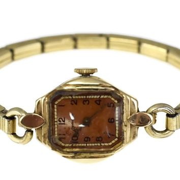 14k Gold Tavaness Vintage Wristwatch Watch 17j Needs TLC