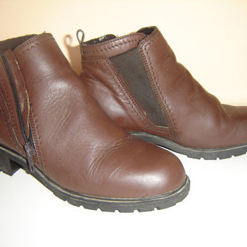 Vintage Leather Womens Ankle  Boots, Whiskey Brown Caramel Boots, Leather Military Boots Size 7.5