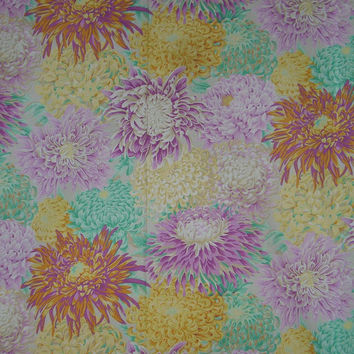 Philip Jacobs Chrysanthemum Print Cotton Fabric in Pastels --One Yard