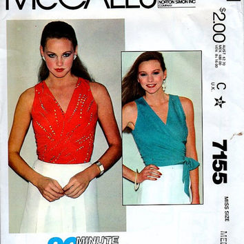 McCall's 7155 Sewing Pattern 80s Disco Style Classic Wrap Shirt Blouse Sleeveless Top