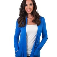 Open Front Cardigan with Pockets - Blue (Special Offer)