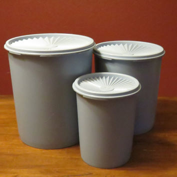 Tupperware Blue Canister Set (3), Servalier Lid Sealed storage, kitchen storage, 1970s kitchen, cannister