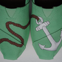 READY TO SHIP Womens size 7.5 Custom Hand Painted Toms Anchor Design shoes on Mint Green Canvas