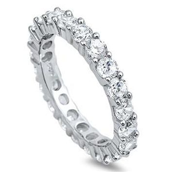 A Perfect 7.99TCW Round Cut Russian Lab Diamond Eternity Ring