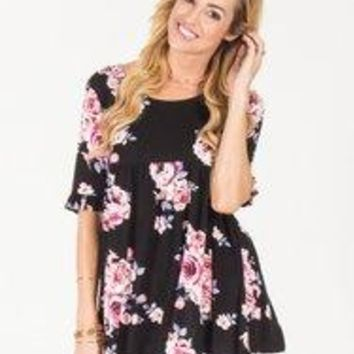 Floral Ruffle Babydoll Top - Wine - Black - S