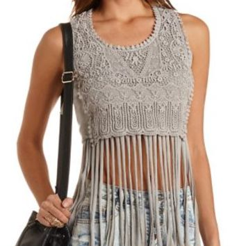 Knit & Crochet Fringe Crop Top by Charlotte Russe - Olive
