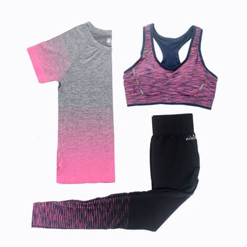 3 Pcs Women Fitness Yoga Sets Running Yoga T-Shirt Tops & Bra & Pants Sport Suit Gym Clothes Workout Training Set