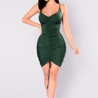 Shanghai Ruched Dress - Hunter Green