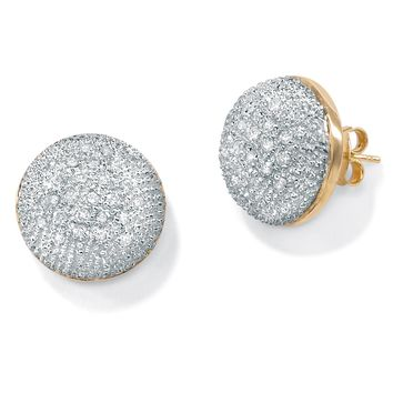 1/10 TCW Round Diamond Pave Dome Earrings in 10k Gold