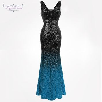 Angel-fashions Women's Sparkly Contrast Color Sequin Gradient Flapper Mermaid Prom Dress 382