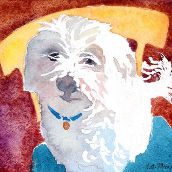 A Dog Named Pooch, Giclee Print of Watercolor Pet Portrait, Showing a Little White Dog on a Chair, 7 X 7 Inches