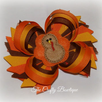 Thanksgiving Turkey ~ Layered Hair Bow with Loops and Spikes ~ Orange, Brown and Yellow Gold ~ Fall Hair Bow ~ Big Hair Bow ~ Fancy Hair Bow