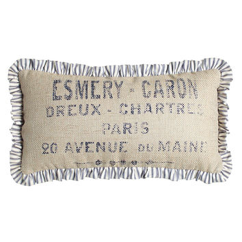 """Oblong Pillow with Ticking-Stripe Ruffle, 10"""" x 20"""" - French Laundry Home"""