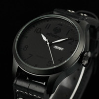New Infantry Analog Quartz Day & Date Men's Sport Black Leather Wrist Watch Gift