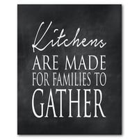 Kitchen Wall Art - Kitchens are made for families to gather - Typography - Inspirational Print - Word art