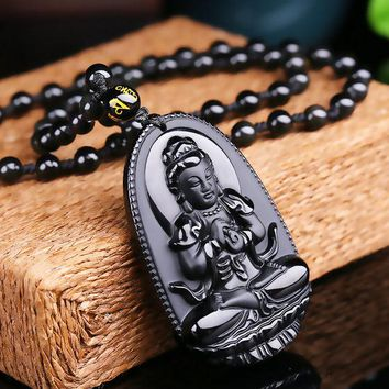 LMFUS4 High Quality Natural Black Obsidian Carved Buddha Lucky Amulet Pendant Necklace For Women Men pendants Jade Jewelry 48*32mm