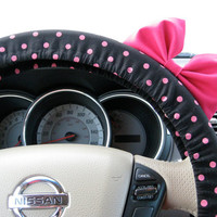 Small Black and Pink Polka Dot Steering Wheel Cover with Matching Brink Pink Bow