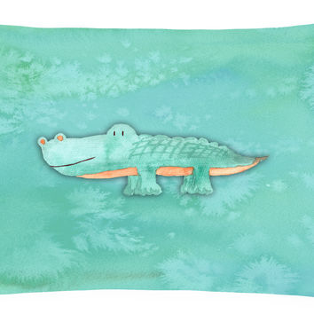 Alligator Watercolor Canvas Fabric Decorative Pillow BB7385PW1216