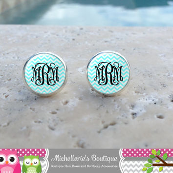12mm Tiffany Blue and Black Chevron Monogram Earrings, Monogram Jewelry, Monogram Accessories, Monogram Studs, Monogram Leverback, Gifts