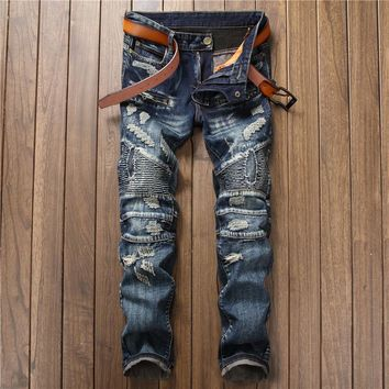 Baggy Hip Hop Patch Men Retro Jeans Knee Rap Hole Zipped Biker Jeans Men Loose Slim Destroyed Torn Seretch Ripped Denim Man Pant