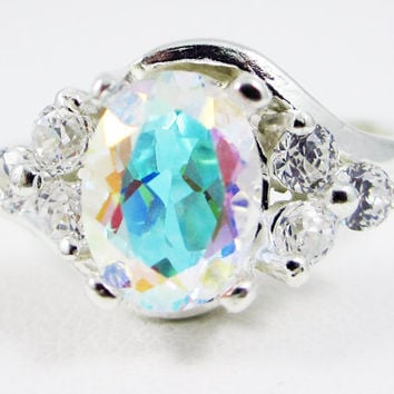 Mercury Mist Topaz Oval and White CZ Accent Swirl Ring Sterling, Rainbow Topaz Ring, Engagement Ring, Mercury Mist Ring, 925 Ring
