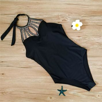Sexy 2018 New Beaded High Collar Swimsuit Monokini Women One Piece Swimwear Black Backless Bodysuit Summer Beach Bathing Suits