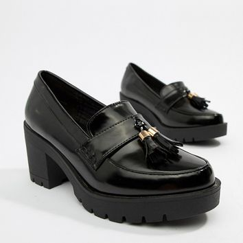 River Island chunky heeled loafer in black at asos.com