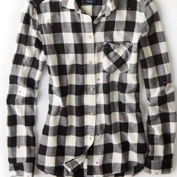 AEO 's Box Check Flannel Shirt (Black)